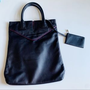 Tehra & B Leather Laptop Tote With Coin Purse